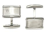 Chisel Stainless Steel Brushed/polished Cz Cuff Links style: SRC350