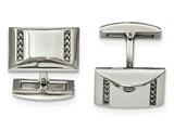 Chisel Stainless Steel Polished Cz Rectangle Cuff Links style: SRC351