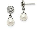Chisel Stainless Steel Polished Cz And Fwc Pearl Dangle Earrings style: SRE1011
