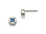 Chisel Stainless Steel Polished Blue And Clear Cz Post Earrings style: SRE1014