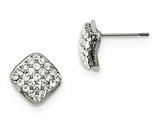Chisel Stainless Steel Polished With Crystal Square Post Earrings style: SRE1017