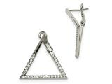 Chisel Stainless Steel Polished With Crystal Triangle Omega Back Earrings style: SRE1018