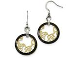 Chisel Stainless Steel/ceramic Polished/laser Cut Yellow Ip-plated Earrings style: SRE1019