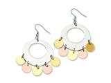 Chisel Stainless Steel and Gold and Rose Color IP-plated Fancy Dangle Earrings style: SRE101