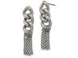 Chisel Stainless Steel Oval Chain Post Dangle Earrings style: SRE1024