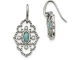 Chisel Stainless Steel Polished Imitation Turquoise and CZ Dangle Earrings style: SRE1034
