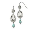 Chisel Stainless Steel Polished Imitation Turquoise Shepherd Hook Earrings style: SRE1036