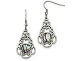 Chisel Stainless Steel Polished Imitation Abalone and Glass Shepherd Hook Earrings style: SRE1037