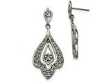 Chisel Stainless Steel Polished And Textured Post Dangle Earrings style: SRE1038