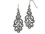Chisel Stainless Steel Polished Antiqued Crystal Shepherd Hook Earrings style: SRE1039