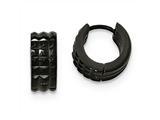 Chisel Stainless Steel Polished Black Ip Studded Hinged Hoop Earrings style: SRE1043