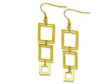 Chisel Stainless Steel Gold Color IP-plated Rectangle Dangle Earrings