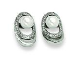 Chisel Stainless Steel Cultured Pearl and CZ Earrings