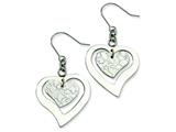 Chisel Stainless Steel Heart Dangle Earrings style: SRE189