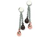 Chisel Stainless Steel Rose and Brown Ip Plated Teardrops Post Earrings style: SRE214