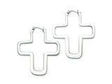 Chisel Stainless Steel Polished Cross Hoop Earrings style: SRE221