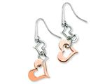 Chisel Stainless Steel Polished and Rose Pvd-plated Heart Dangle Earrings style: SRE236