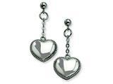 Chisel Stainless Steel Heart Post Dangle Earrings style: SRE243