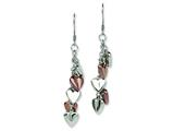 Chisel Stainless Steel Brown Ip-plated and Hearts Dangle Earrings style: SRE245
