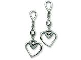 Chisel Stainless Steel Heart W/cz Heart Post Dangle Earrings style: SRE248