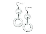 Chisel Stainless Steel Polished Circles Dangle Earrings style: SRE256