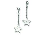 Chisel Stainless Steel Polished Stars W/ CZ Post Dangle Earrings style: SRE262