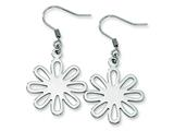 Chisel Stainless Steel Polished Large Flower Dangle Earrings style: SRE268