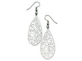 Chisel Stainless Steel Filigree Teardrop Wire Earrings style: SRE270