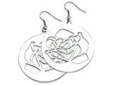 Chisel Stainless Steel Rose Cutout Dangle Earrings style: SRE278
