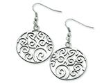 Chisel Stainless Steel Fancy Swirl Dangle Earrings style: SRE281