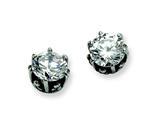 Chisel Stainless Steel Antiqued Round CZ Post Earrings style: SRE300