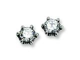 Chisel Stainless Steel Antiqued CZ Post Earrings style: SRE303