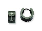 Chisel Stainless Steel Black Ip-plated Round Hinged Hoop W/ Cross Earrings style: SRE337