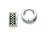 Chisel Stainless Steel Checkerboard Pattern Hinged Hoop Earrings style: SRE338