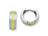 Chisel Stainless Steel Polished W/ 14k Inlay Hinged Hoop Earrings style: SRE379