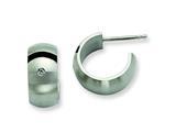 Chisel Stainless Steel Brushed Black Rubber W/ CZ Post Hoop Earrings style: SRE390