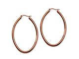 Chisel Stainless Steel Brown Plated 55mm Oval Hoop Earrings style: SRE403