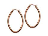 Chisel Stainless Steel Brown Plated 50mm Oval Hoop Earrings style: SRE404