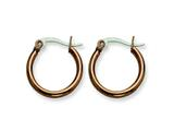 Chisel Stainless Steel Brown Ip Plated 19mm Hoop Earrings style: SRE408