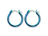 Chisel Stainless Steel Blue Ip Plated 19mm Hoop Earrings style: SRE423