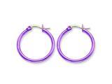 Chisel Stainless Steel Pink Ip Plated 26mm Hoop Earrings style: SRE431