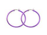 Chisel Stainless Steel Pink Ip Plated 42mm Hoop Earrings style: SRE433