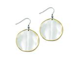 Chisel Stainless Steel Yellow Ip-plated Edge Disc Matte Dangle Earrings style: SRE454
