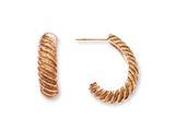Chisel Stainless Steel Pink Ip-plated Textured J Hoop Earrings style: SRE478