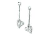 Chisel Stainless Steel Clear Crystal Heart Post Dangle Earrings style: SRE482