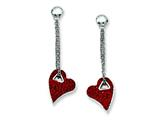 Chisel Stainless Steel Red Crystal Heart Post Dangle Earrings style: SRE483