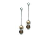 Chisel Stainless Steel Brown and Champagne Simulated Pearl Post Earrings style: SRE484