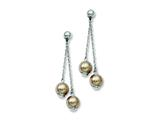 Chisel Stainless Steel Champagne Simulated Pearl Post Dangle Earrings style: SRE485