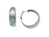 Chisel Stainless Steel Textured Hoop Earrings style: SRE489