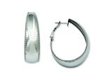 Chisel Stainless Steel Textured Edge 40mm Oval Hoop Earrings style: SRE490